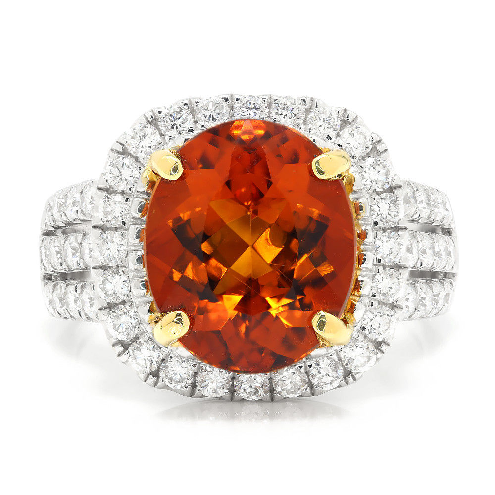 Mandarin Garnet Halo Ring with Diamonds 18K Two Tone Gold 5.32ctw
