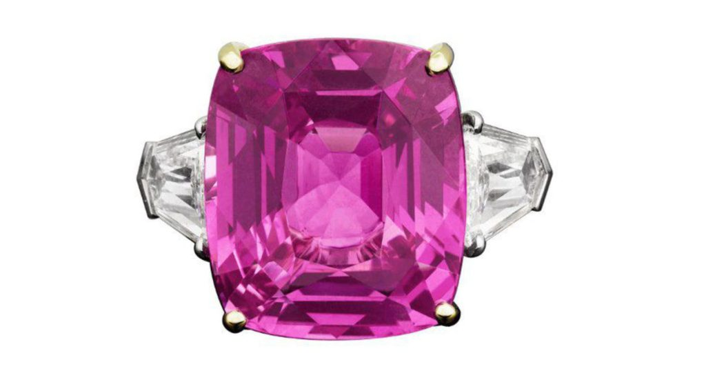 20.0 Cttw Natural Pink Sapphire Trilliant (2) Diamond Engagement Ring