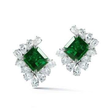 30.96 Ct Natural Emerald and White Diamond Platinum Earrings