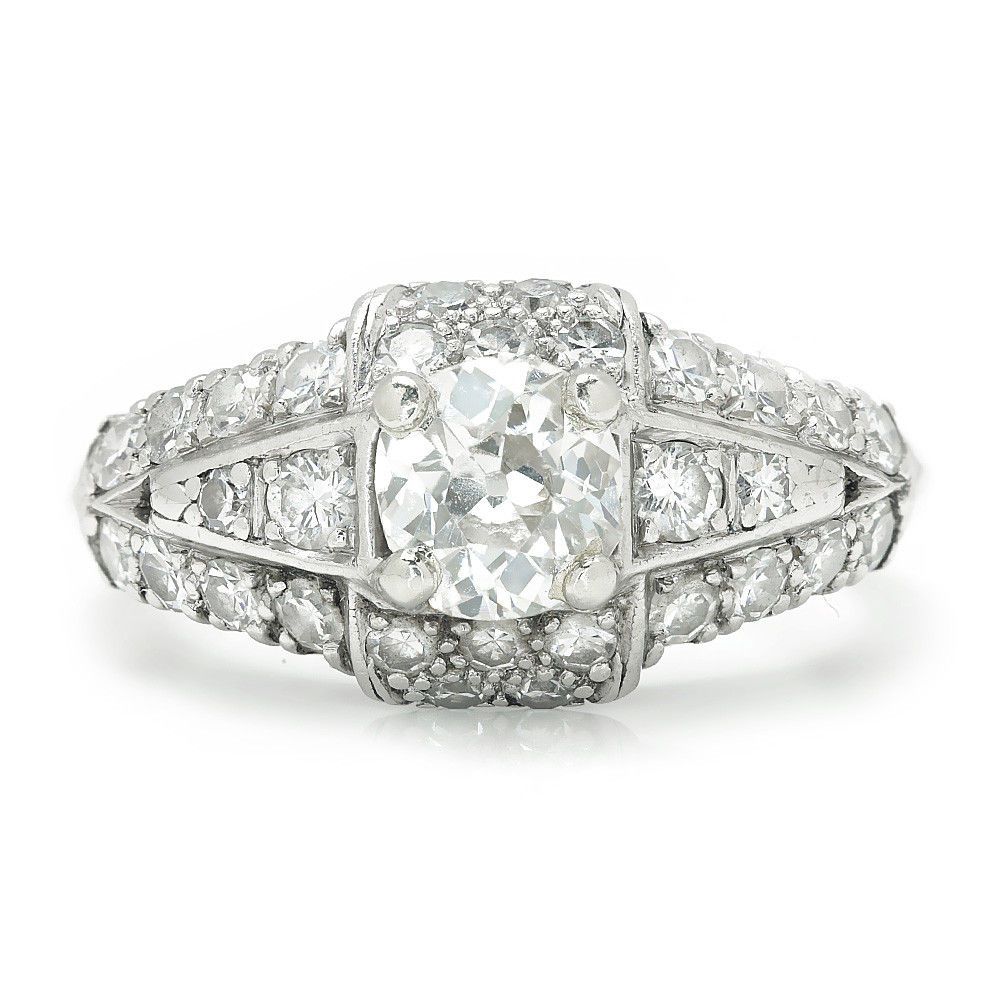 Vintage Old Mine Cut Diamond  Engagement Ring with Accents in Platinum 1.00ctw