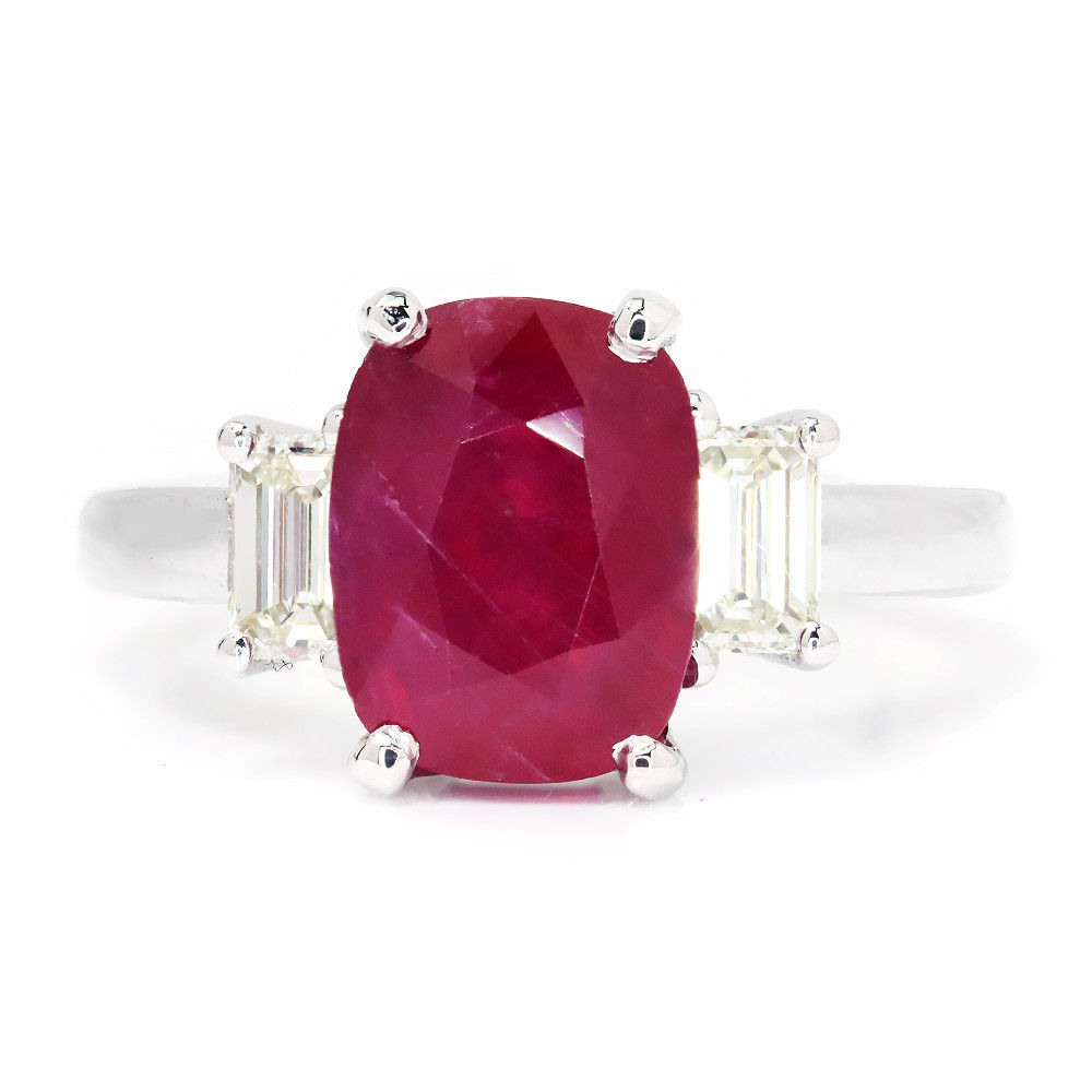 Oval Ruby 3 Stone Ring with Diamonds 18K White Gold 3.98 Ctw