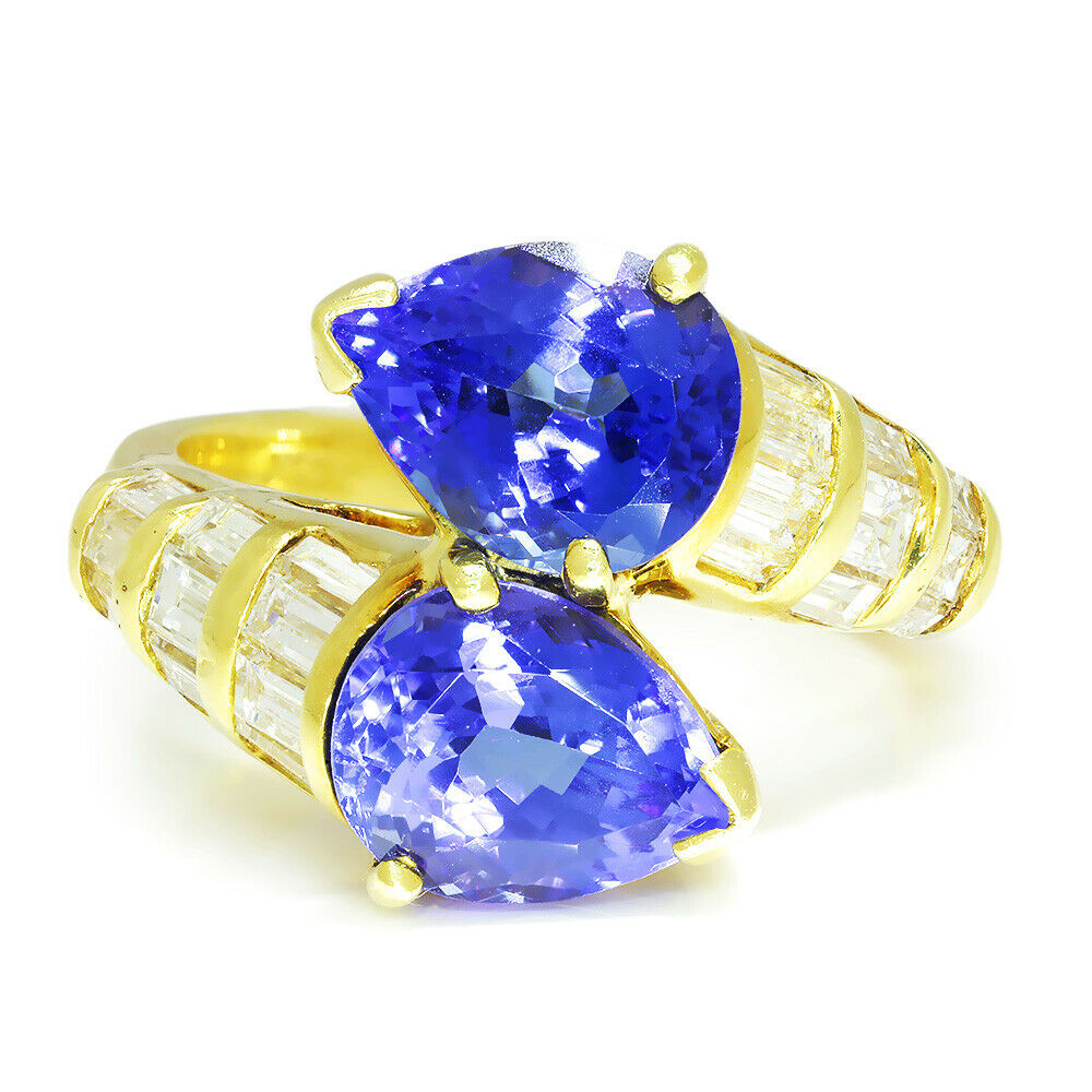 Vintage Pear Tanzanite Bypass Ring  with Diamonds in 18Kt Yellow Gold 6.50ctw