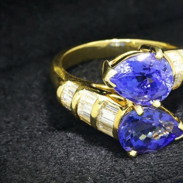 Vintage Pear Tanzanite Bypass Ring with Diamonds 18K Yellow Gold 6.50ctw