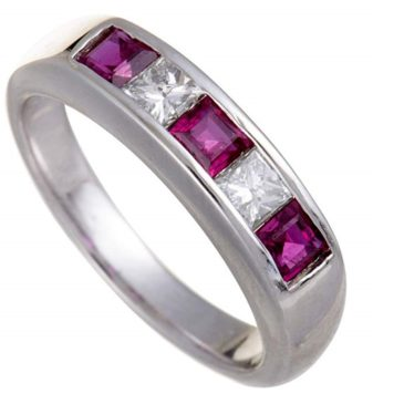 Luxury Bazaar Platinum Diamond and Ruby Band Ring