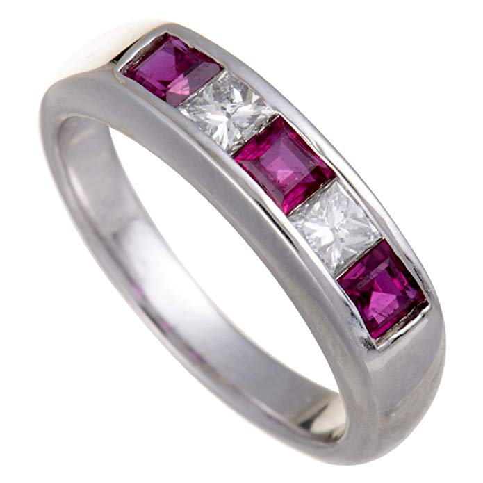 Platinum Diamond and Ruby Band Ring