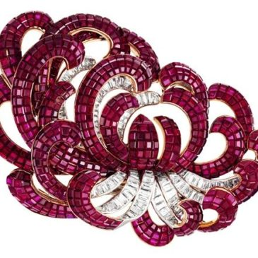 An Exquisite Ruby and Diamond Brooch