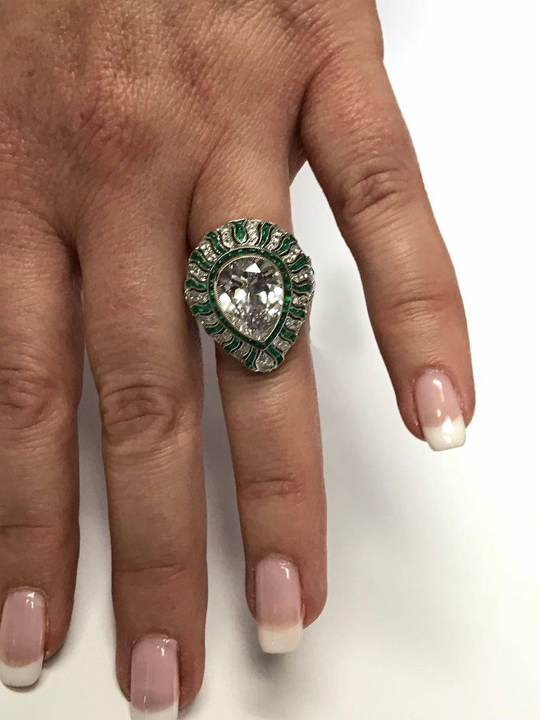 Art Deco Style Emerald and Diamond Platinum Ring