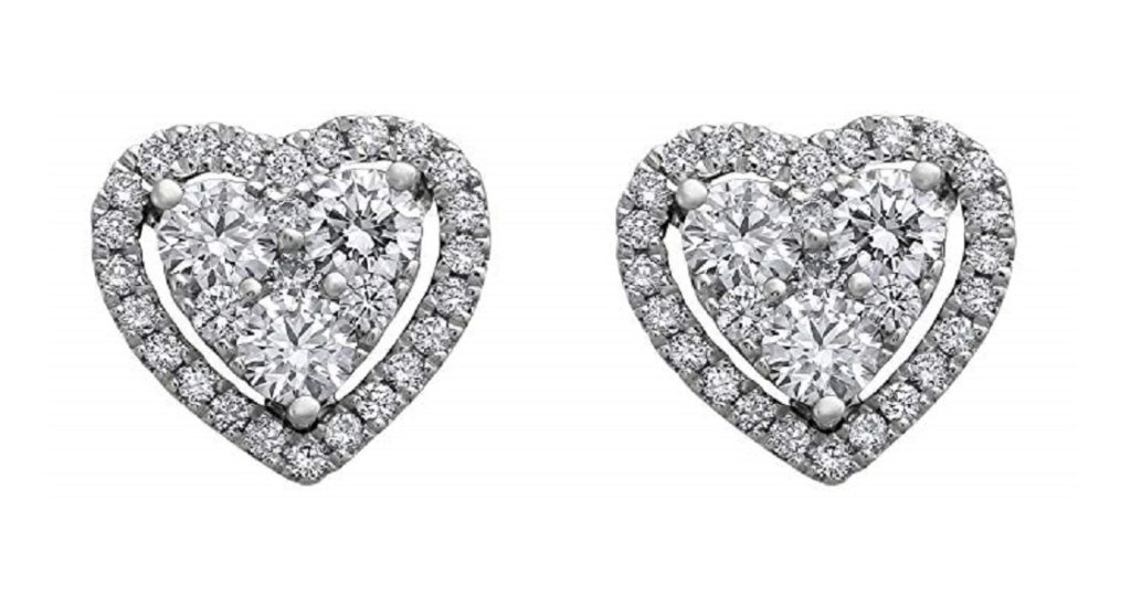 Olivia Paris 14K White Gold 3/4 Carat (ctw) Diamond Halo Heart Cluster Stud Earrings (H-I, SI2-I1)