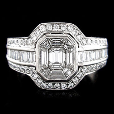 Emerald Cut Diamond Invisible Set Cluster Ring 18K White Gold 1.00ctw