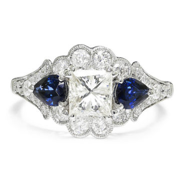A Spectacular Princess Diamond 3 Stone Engagement Ring with Sapphires 18K 2.43ctw