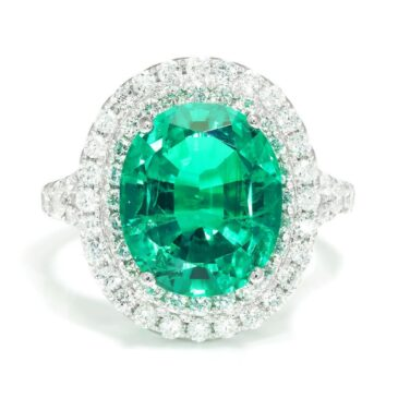 Gorgeous Oval Emerald Double Halo Ring with Diamonds 18K White Gold 5.54ctw