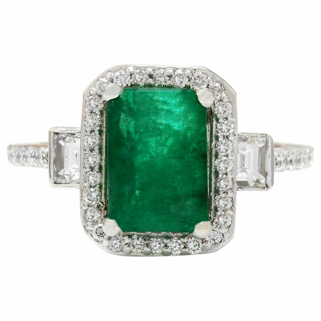 3.60 Carat Natural Emerald and Diamond 18K White Gold Engagement Ring