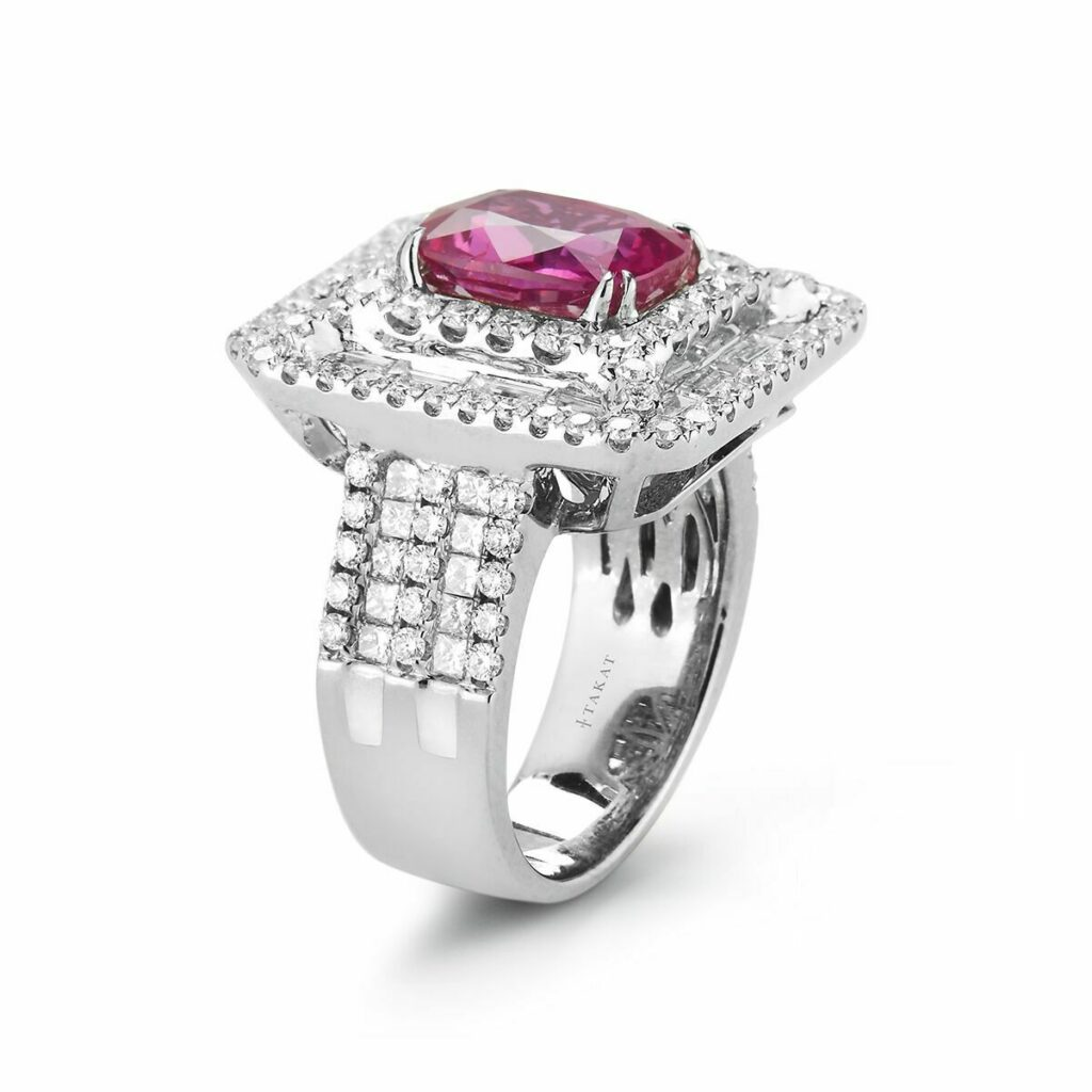 5.53 Ct Unheated Burmese Pink Sapphire and Diamond 18K White Gold Ring