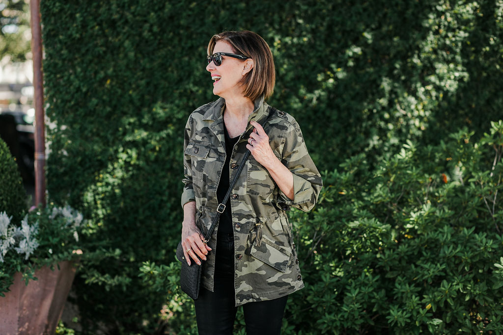 Cross body bags with camo utility jacket