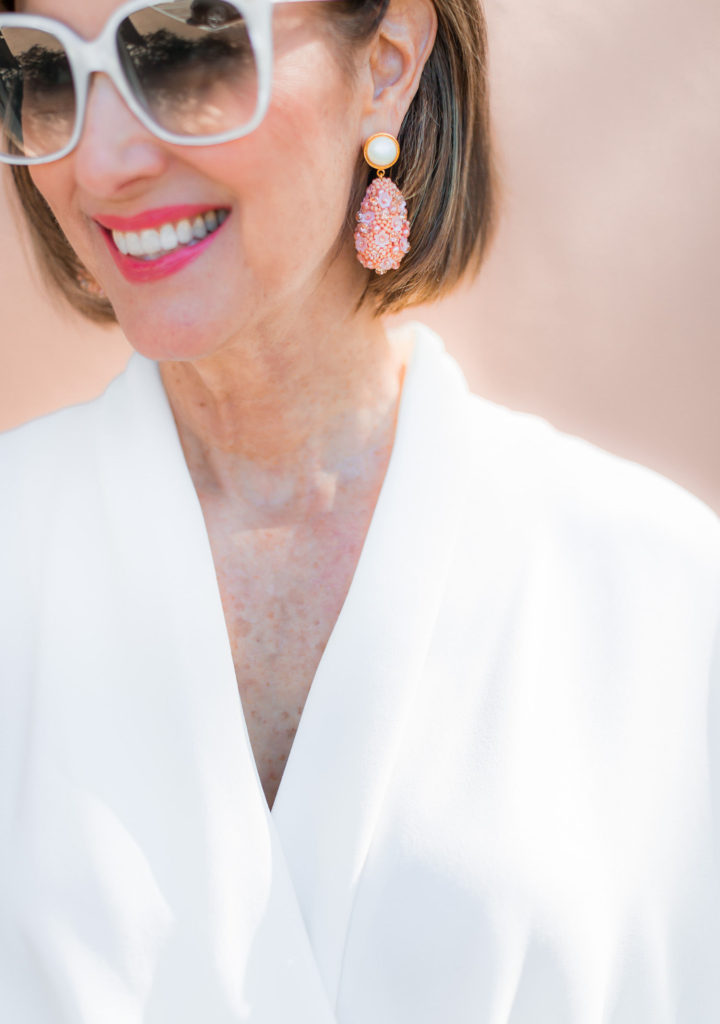 White pearl Gucci Sunnies and Lizzie Fortunato drop earrings