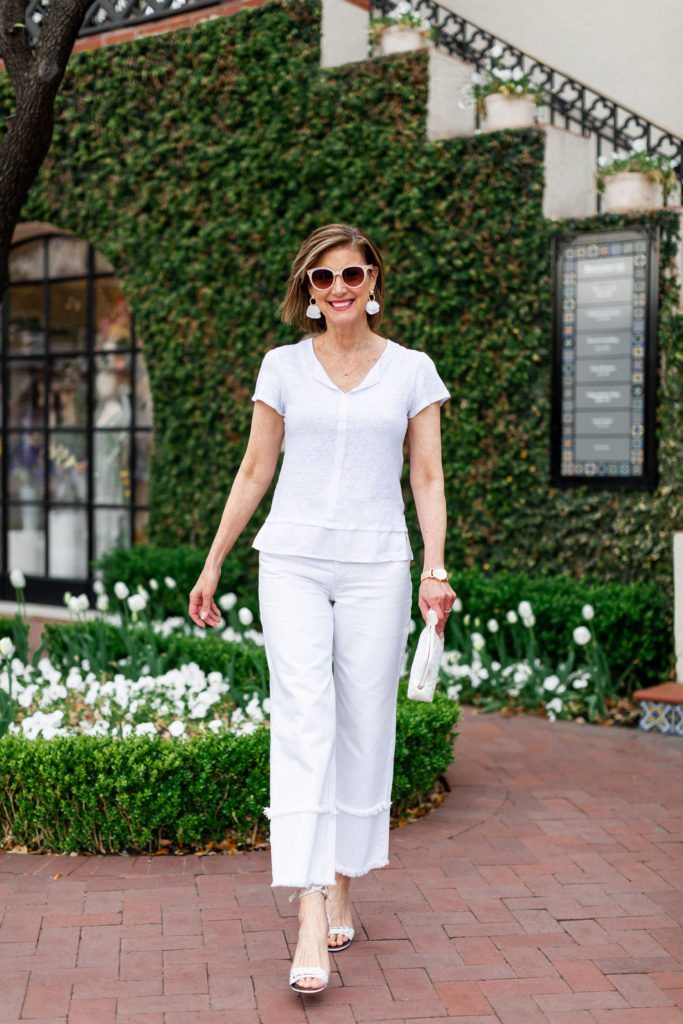 fringe detailing on jeans and t shirt from Nordstrom