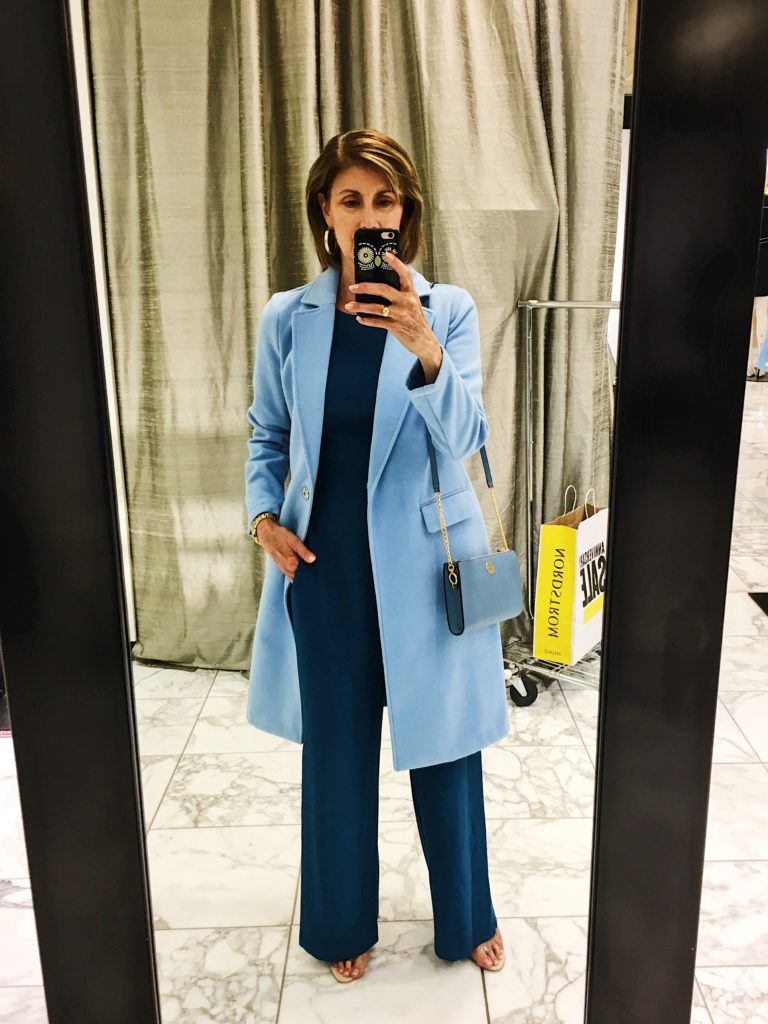 Vince Camuto teal jumpsuit and blue coat