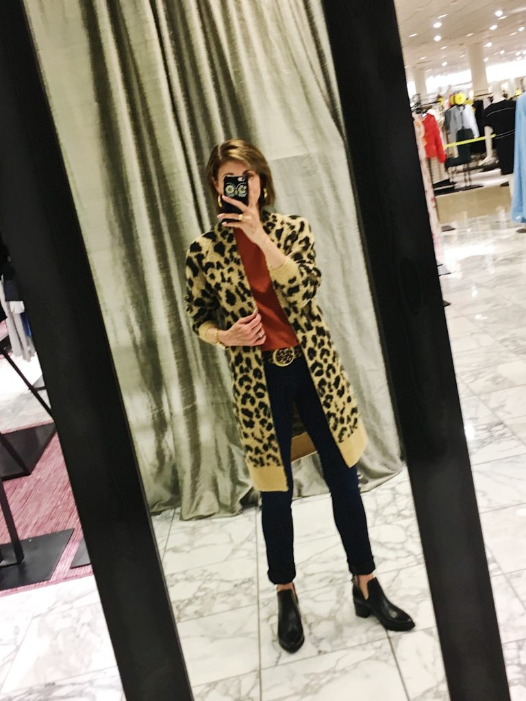 BP leopard cardigan with vince tee shirt