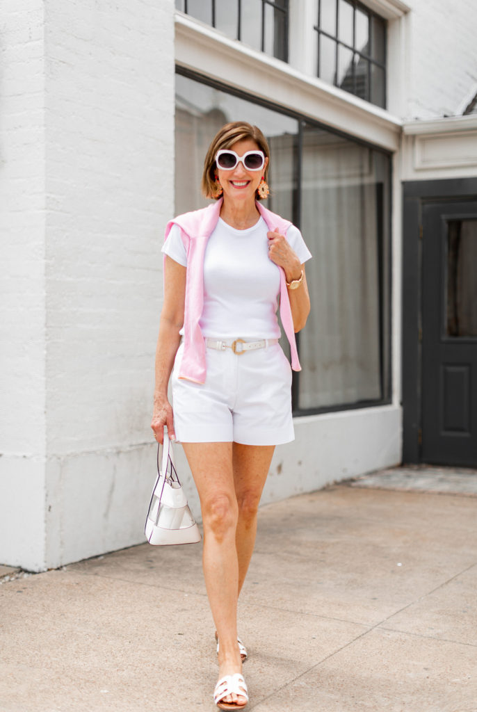 Over 50 blogger in all white for summer