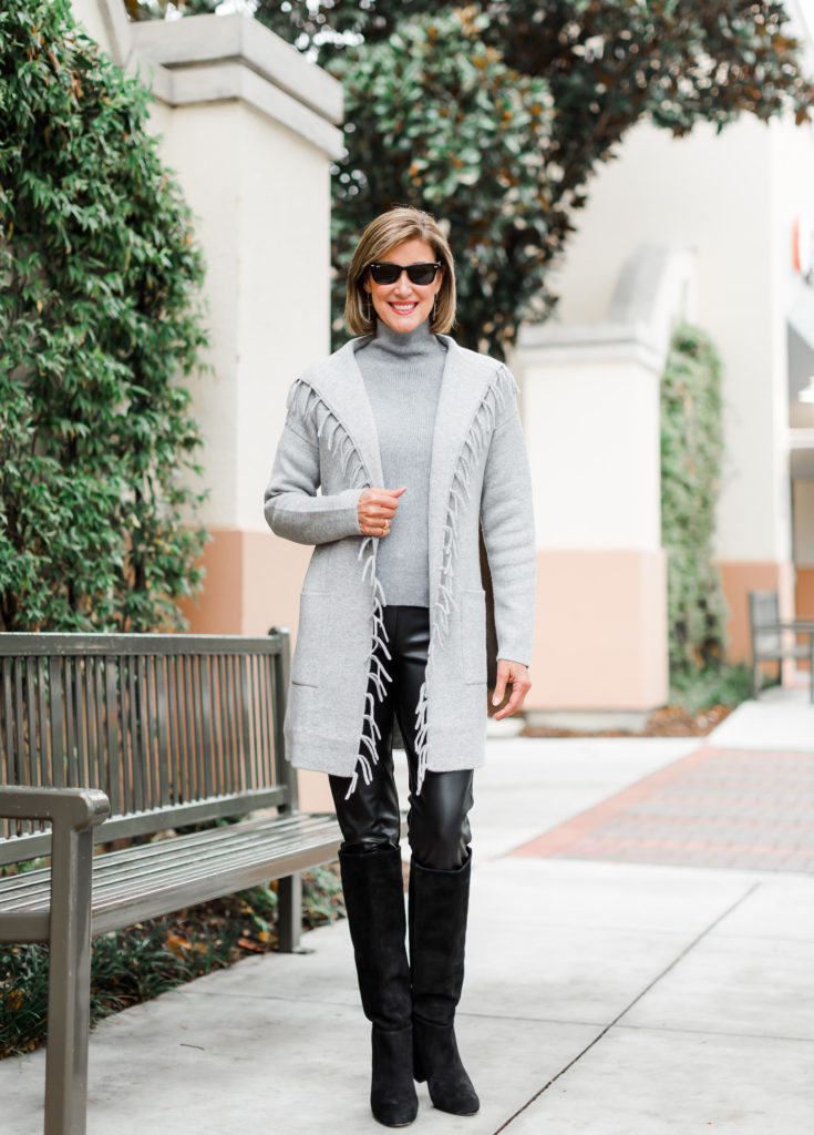 suede knee high boots on Dallas blogger