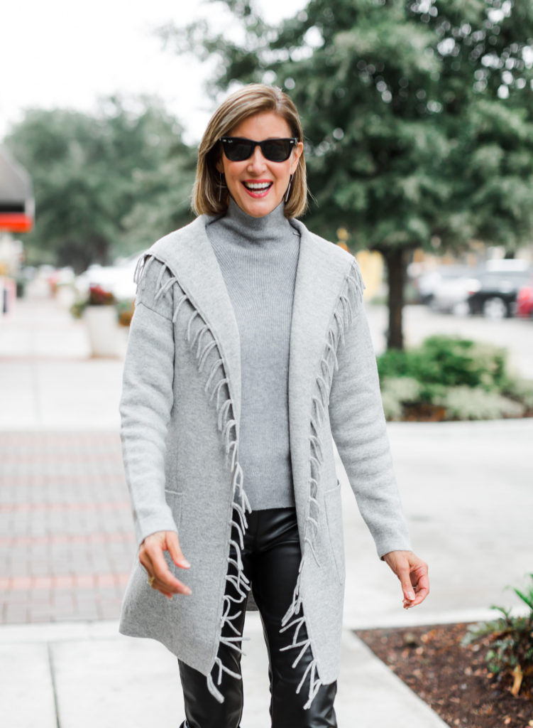 Longer cashmere sweater worn by Fashionomics founder Debby Allbright