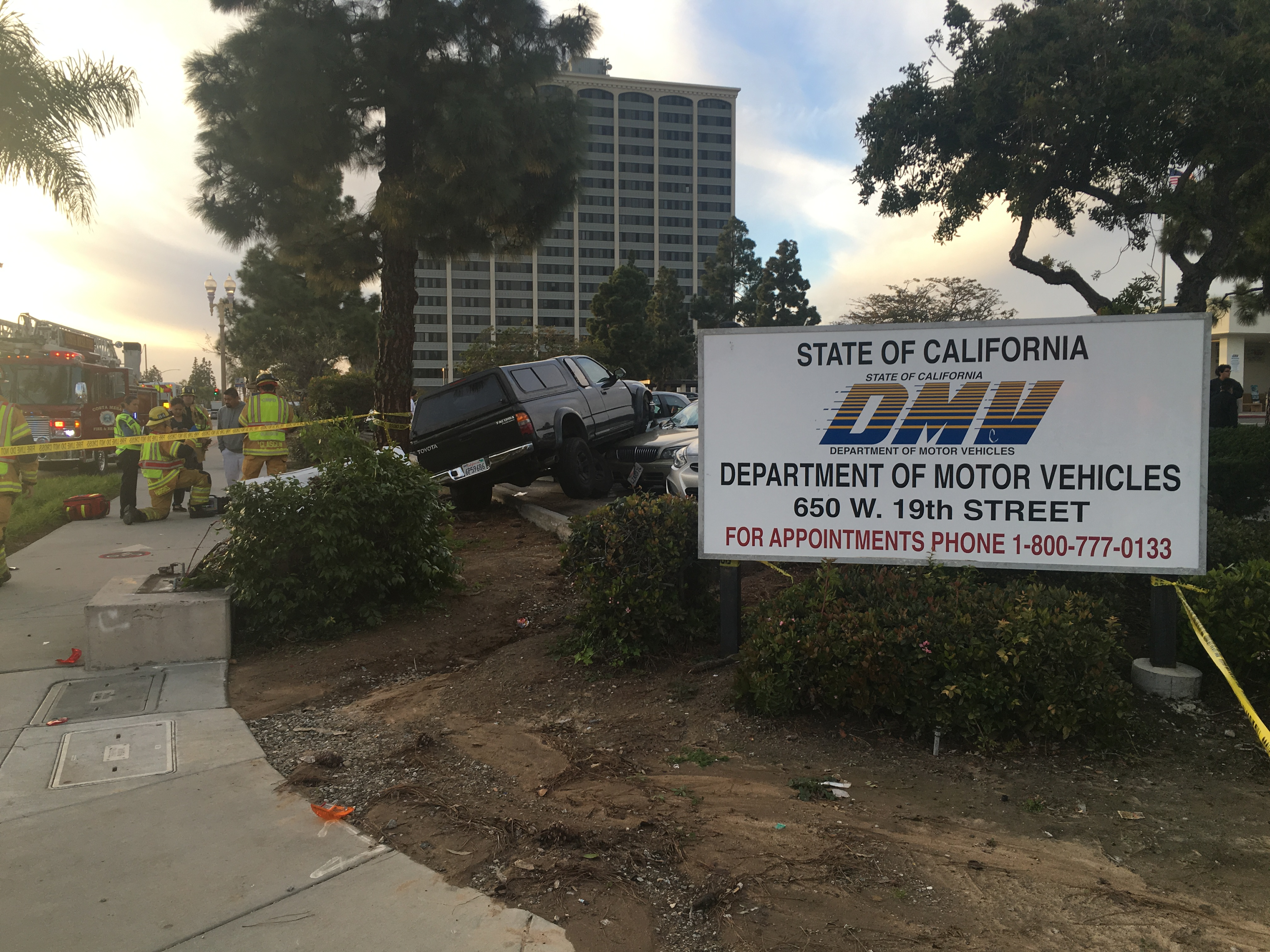 DRIVERS LICENSE TEST ENDS IN SPECTACULAR CRASH AT COSTA MESA
