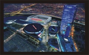 View of the AEG proposed downtown Los Angeles stadium project