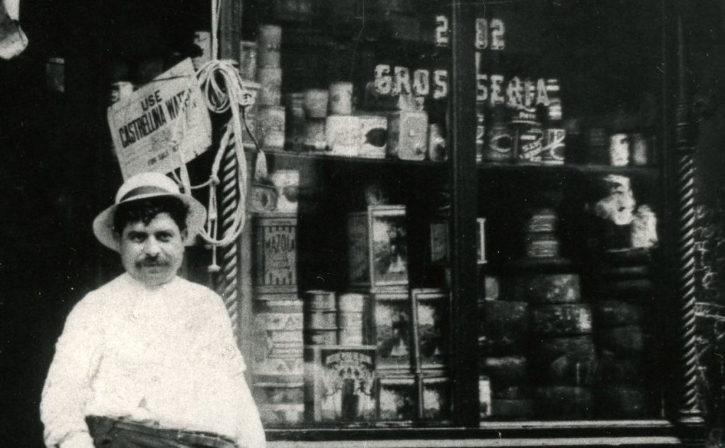 Grandpa Dominic at his store. Groceries and fruit with a restaurant in the back.