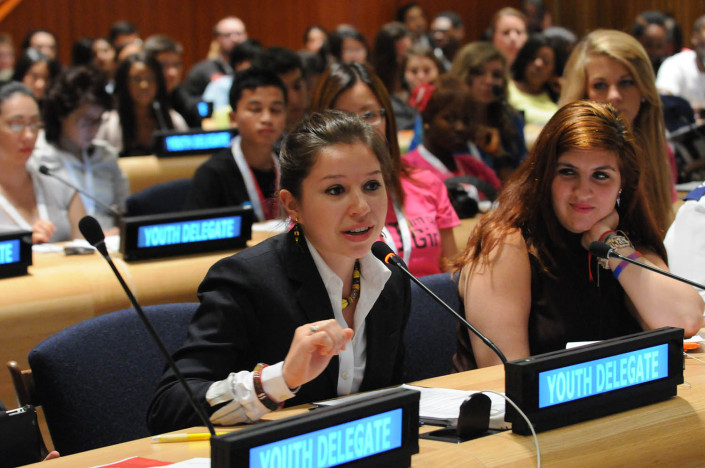 Education activists at the UN on Malala Day.