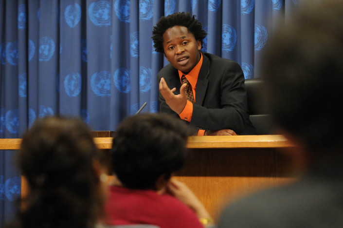 Former child soldier and author Ismael Beah speaks at a press conference at the United Nations.