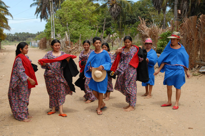 Indigenous Wayuu adolescents prepare for a traditional dance.