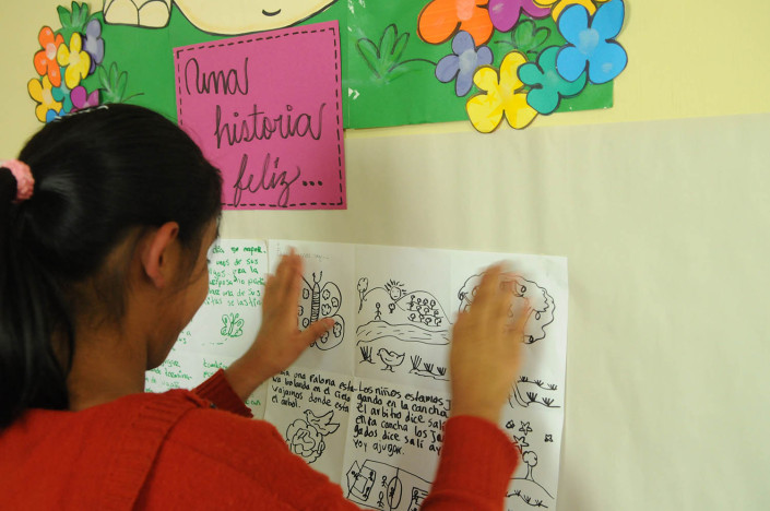 An adolescent girl participates in psychosocial therapy in Guatemala.
