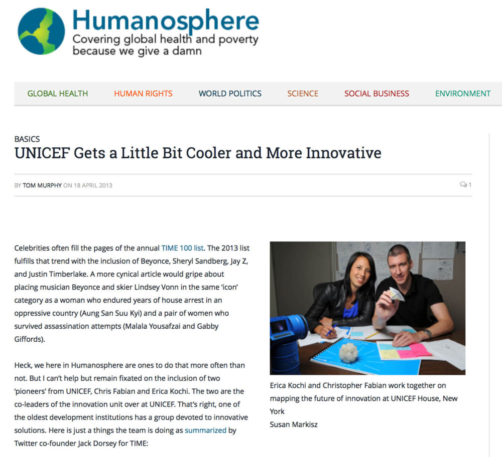 Screen capture of Humanosphere page showing a photograph of UNICEF innovators Chris Fabian and Erica Kochi.