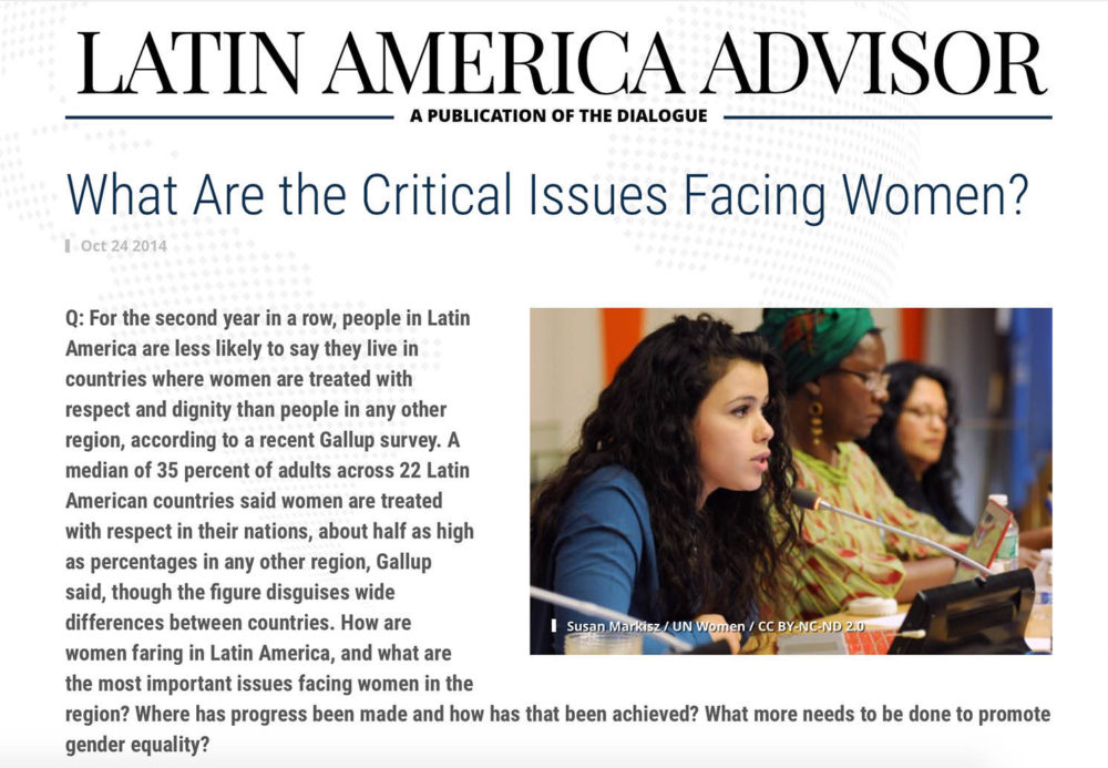 Photograph of an adolescent girl addressing a meeting at the UN, featured in Latin America Advisor.