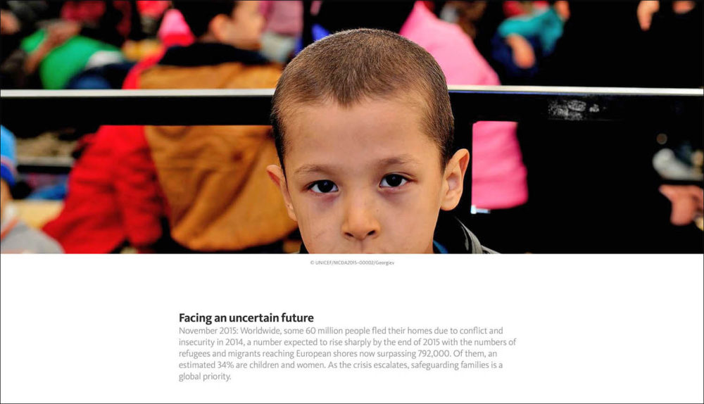 Screen capture of a web page featuring a young refugee boy looking into the camera.