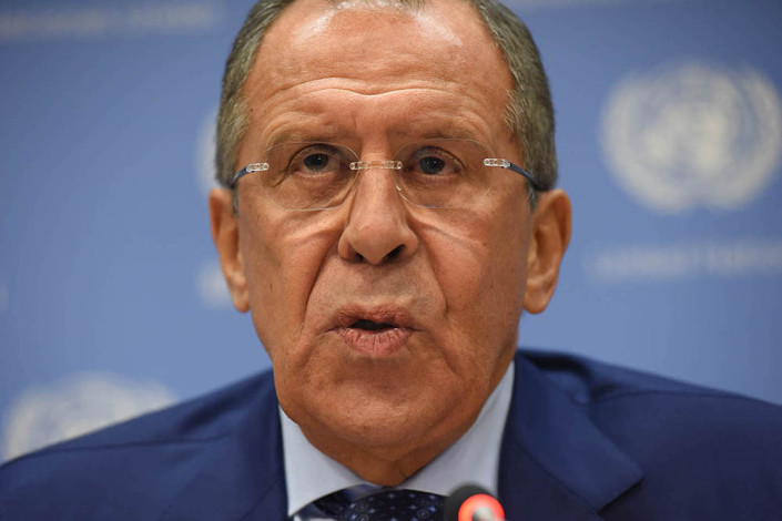 Close-up of Russian Foreign Minister Sergey Lavrov as he speaks to media during a United Nations press conference.