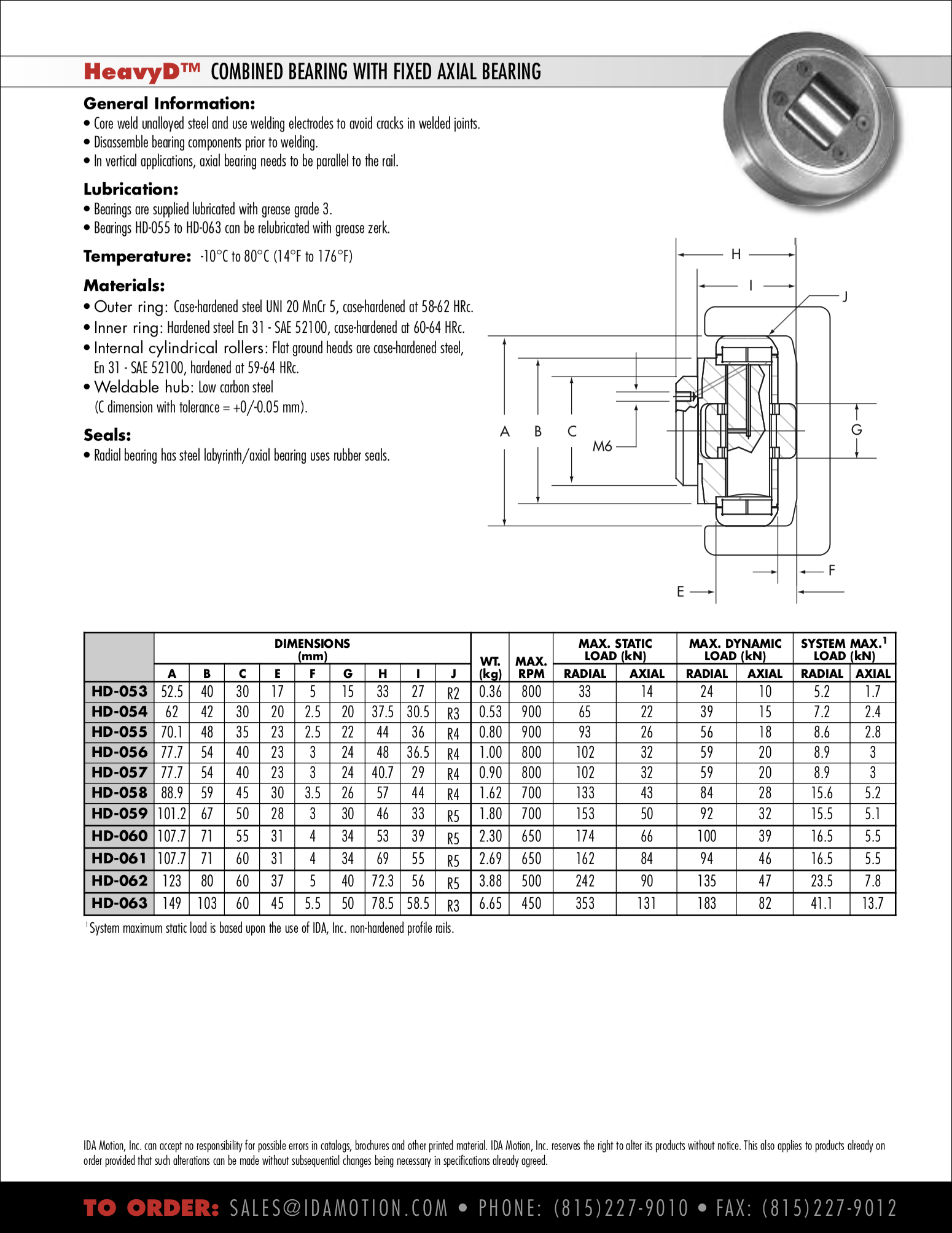 Combined Bearings - Fixed Axial Roller