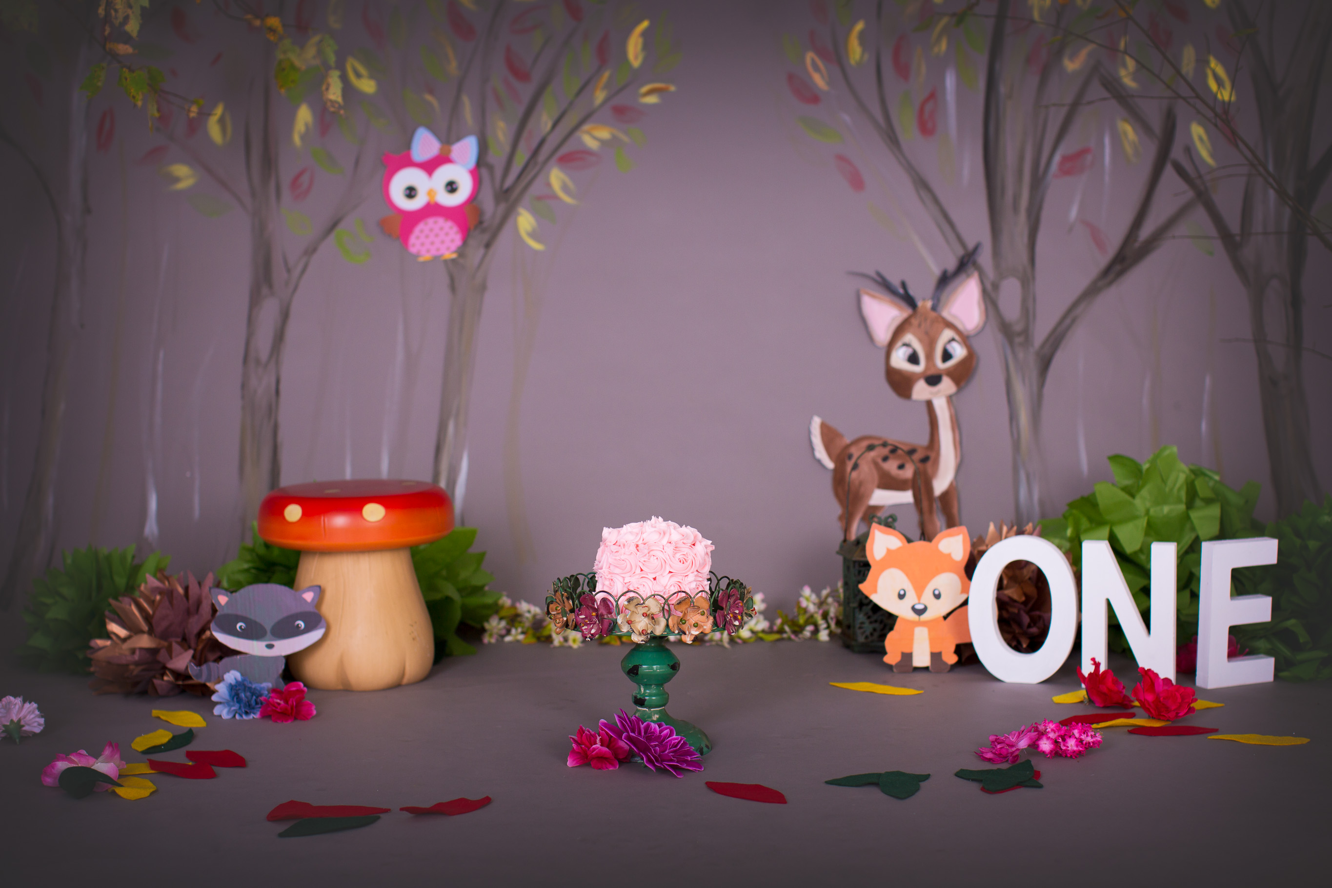 Image of Woodland cake smash set up with pink cake in the middle custom created by KseniaP.Photography