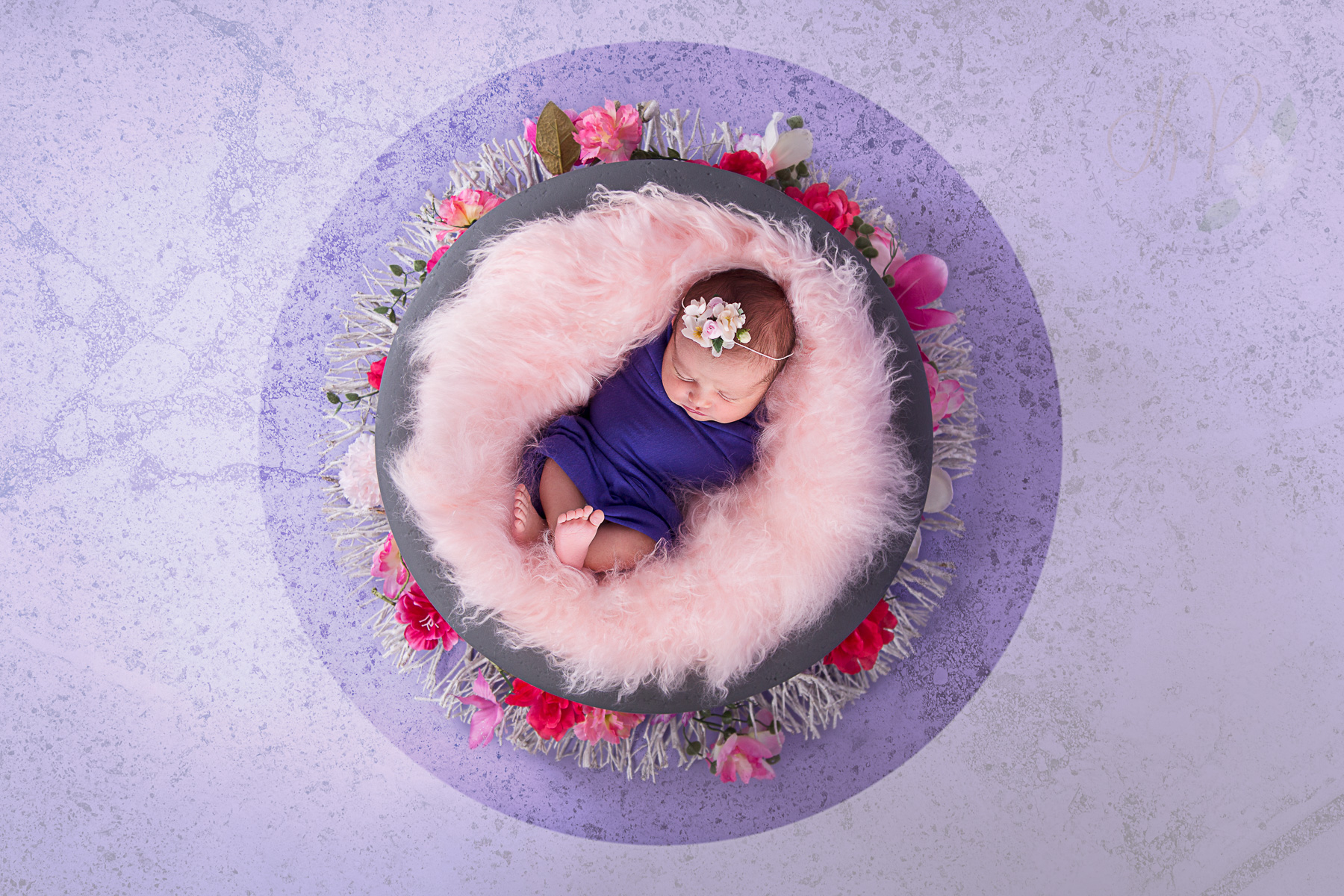 Image of newborn baby wrapped up and sleeping during newborn photo session.