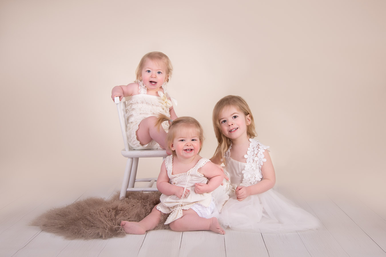 Image of 3 sisters posing from classic children session from Halifax Family Photographer
