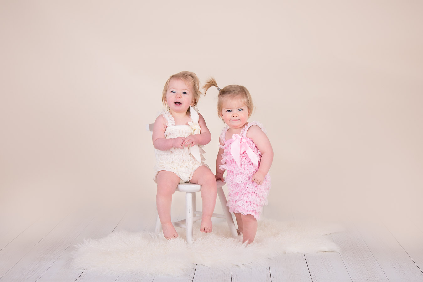 Image of twin baby girls from classic children session from Halifax Family Photographer