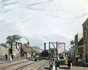 Taking water at Parkside Station in 1831, scene of Huskisson's demise.