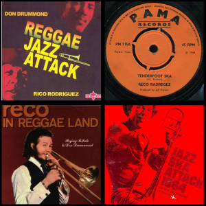Montage credits: Cover art 'Reggae Jazz Attack' Charly Records 2006; Sleeve label 'Tenderfoot Ska' @Pama Records 1968; Sleeve Art 'Reco In Reggaeland' @Pama Records 1969; Sleeve Art 'Jazz Ska Attack' - Jet Set Records 1964