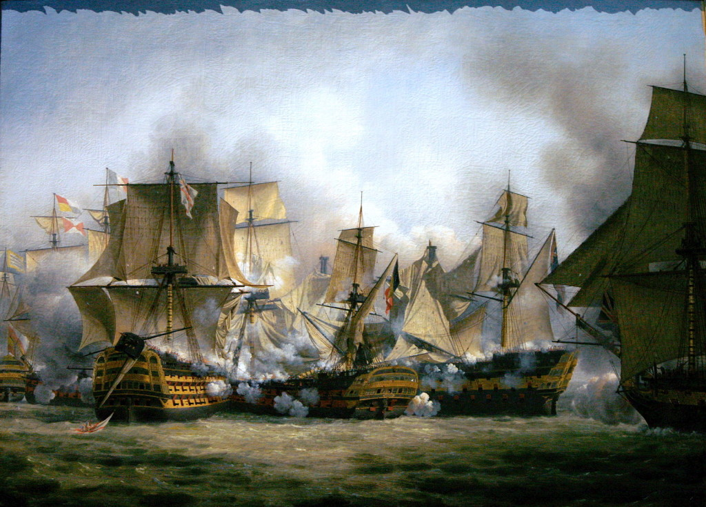 English: The Redoutable at the battle of Trafalgar, between the Temeraire (on the left) and the Victory on the right