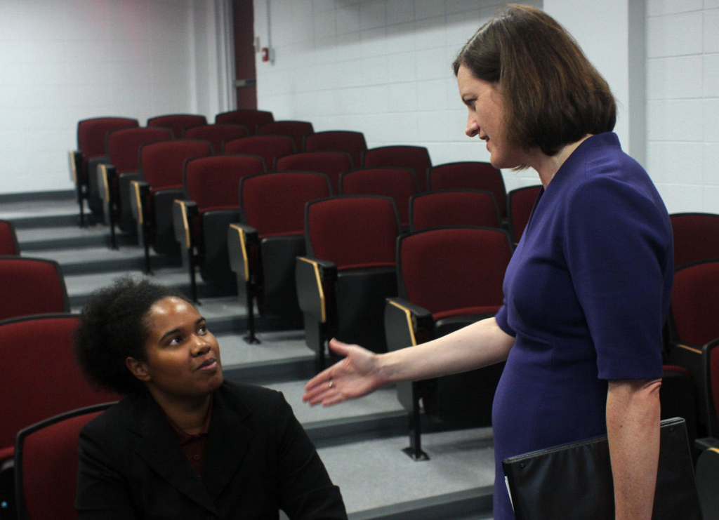 N.C. Treasurer Janet Cowell speaks with NCCU student Erim Akpan after her Sept. 29 presentation on financial literacy in the Hubbard-Totton Auditorium. Photo by Kimane Darden/Echo photo editor.