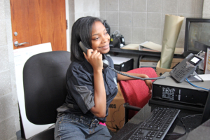 Wimbush, fufilling her duties as a resident assistant in Annie Day Shepard Residential Hall. Photo by Tia Mitchell / Echo assistant editor