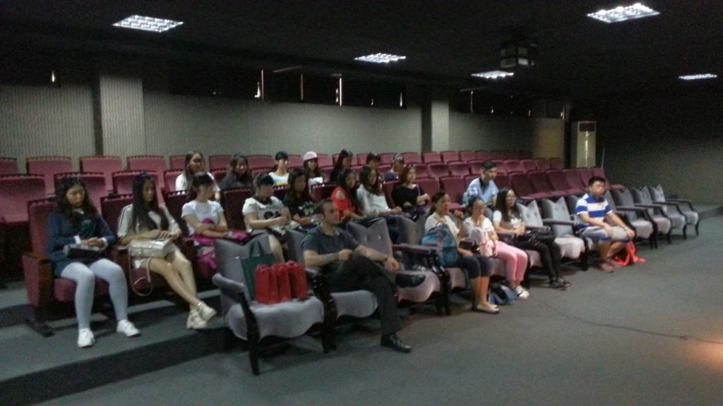 Small talk with the students at the theatre