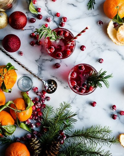 rosemary infused citrus and cranberry cocktail