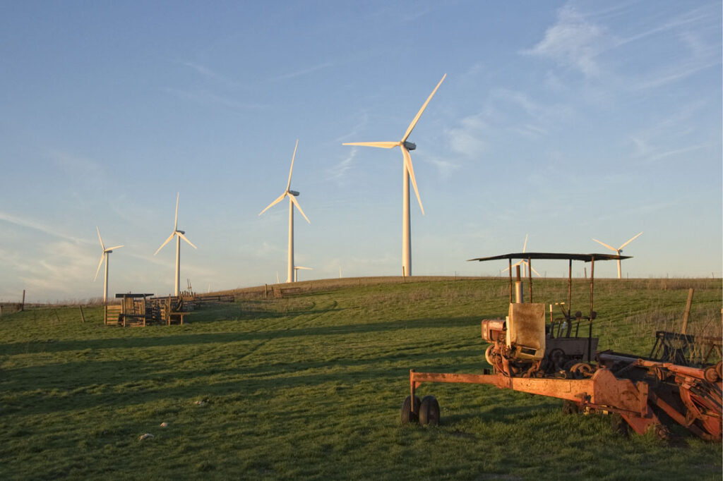 Wind Turbines & Old Tractor
