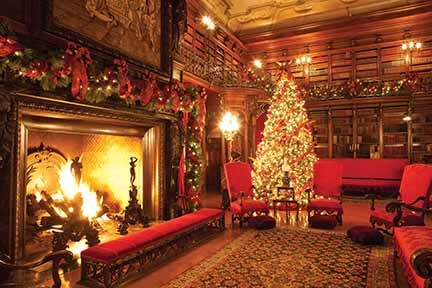 Library during Biltmore Estate Christmas